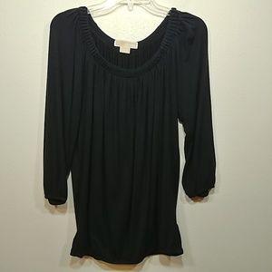 Michael Michael Kors 3/4 Sleeve Black Top Medium